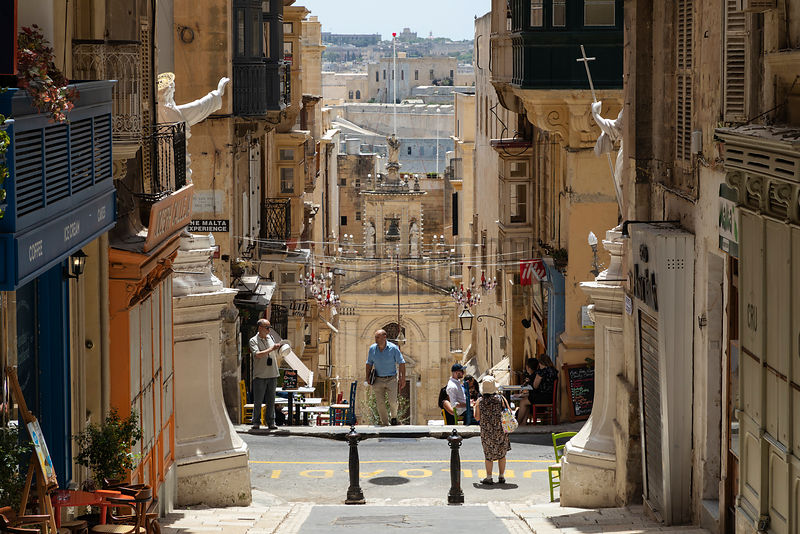 View of Central Valletta Looking Down towatrds St Paul Street