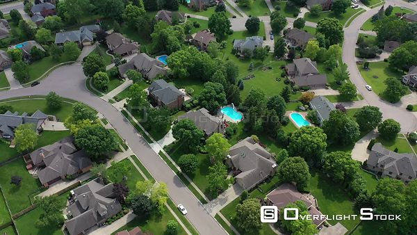 Flying over nice homes and lawns in a residential neighborhood, Centerville, Ohio, USA