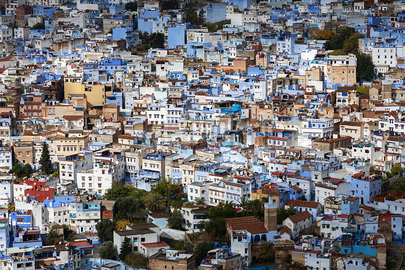 Elevated View of the Skyline of Chefchaouen from the Spanish Mosque