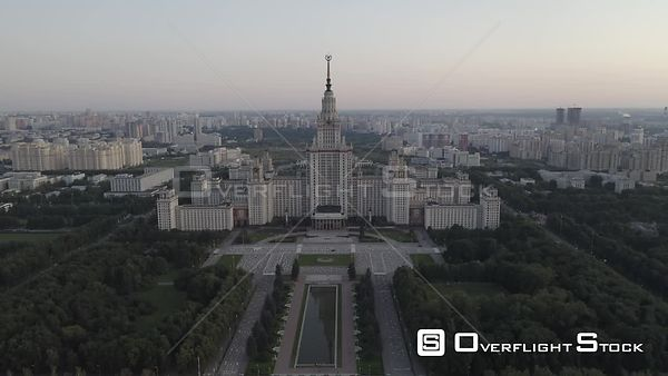 Sunset Moscow State University Sideway Flight. Moscow Russia Drone Video View