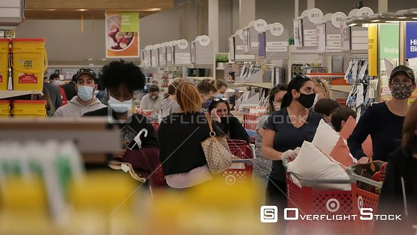 Masked Shoppers Social Distancing Line in Whole Foods During Covid-19 Pandemic