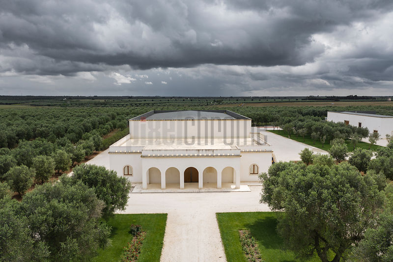 Aerial View of Masseria Altemura with an Approaching Storm