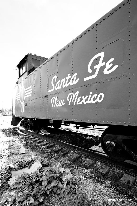 OLD RED CABOOSE SANTA FE NEW MEXICO VERTICAL BLACK AND WHITE VERTICAL