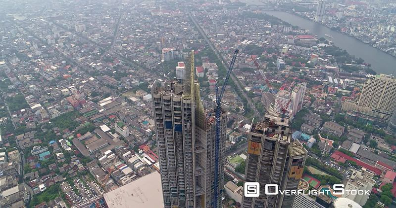 Thailand Bangkok Aerial Panning around building construction