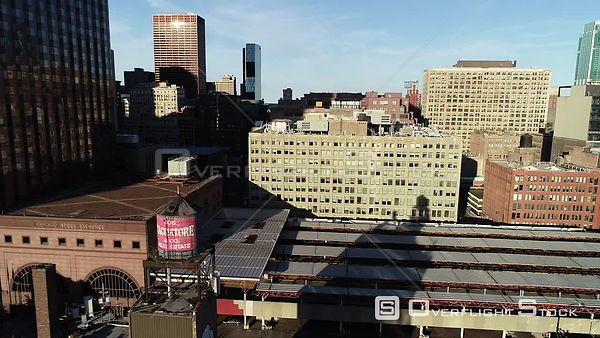Chicago Stock Exchange Builiding and City Skyline Drone Video