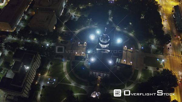 South Carolina Columbia Aerial Birdseye overhead Capitol building to panning cityscape view at night