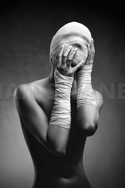 Woman in bandages