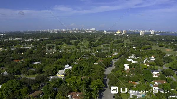 Aerial Video Miami Shores Neighborhood Upscale Homes and Golf Courses 4k