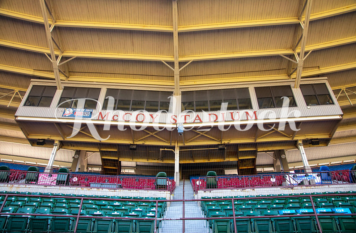 Looking Up At Press Box and Stands of McCoy Stadium