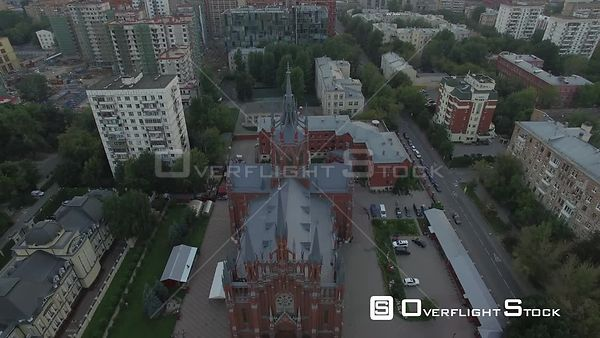 Pass Over Romancatholic Cathedral. Moscow Russia Drone Video View