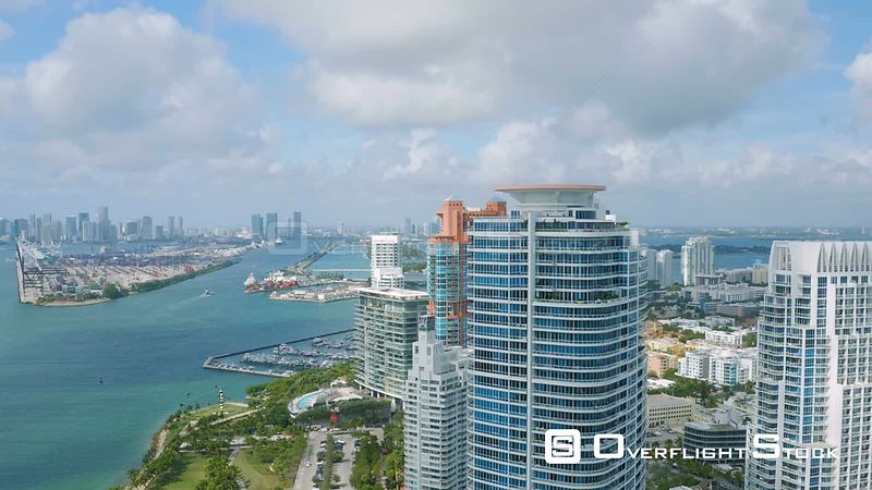 Miami Florida Flying over South Beach panning with panoramic views.