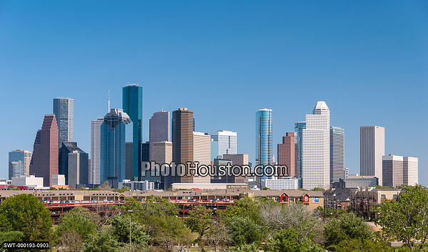 Houston Skyline and clear blue sky