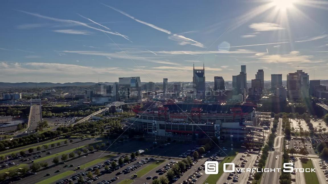 Tennessee Nashville Aerial Cityscape hyperlapse with stadium, traffic, and downtown views