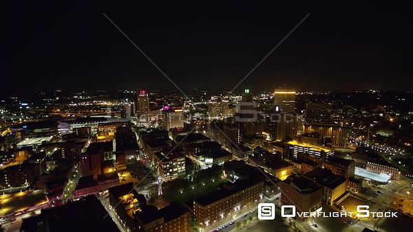 Providence Rhode Island Panning around downtown at night