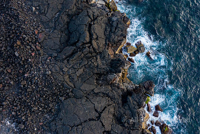 Aerial Image Showing the Typical Black Lava Basalt Coastline of Ilha Do Pico Island in the Azores, Portugal