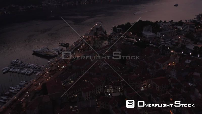 Drone Video Nighttime Kotor Montenegro