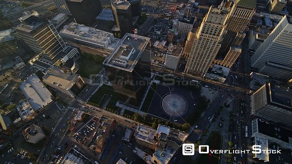 New Jersey Newark Aerial Birdseye Vertical Downtown Sunrise