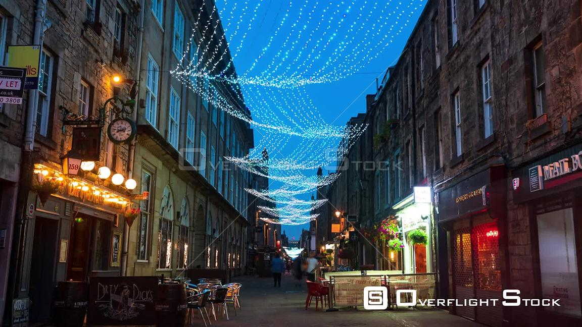 Timelapse View of Rose Street in Edinburgh Illuminated at Night