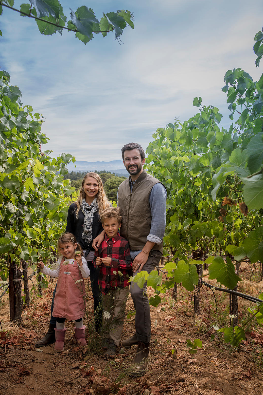 Hillary and Jason Driscoll of Driscoll Wine Company in their Sonoma County vineyard