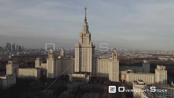 Sunset Sideways Flight With Moscow State University in View. Moscow Russia Drone Video View