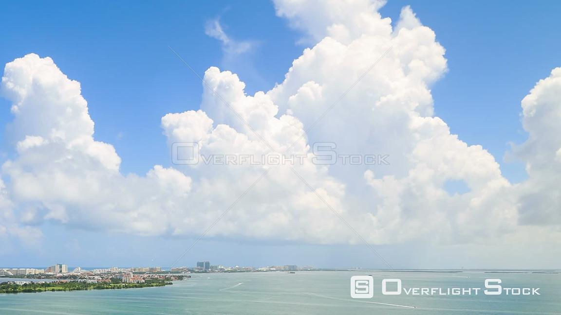 Panning clouds time lapse in Cancun. Mexico