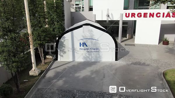 Drone Video  COVID-19 Crisis Emergency Entrance Hospital Angeles Monterrey Mexico