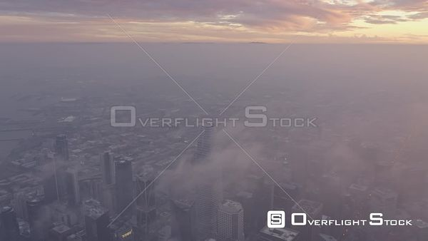 San Francisco Multiple birdseye view segments of Financial District cityscape at sunset
