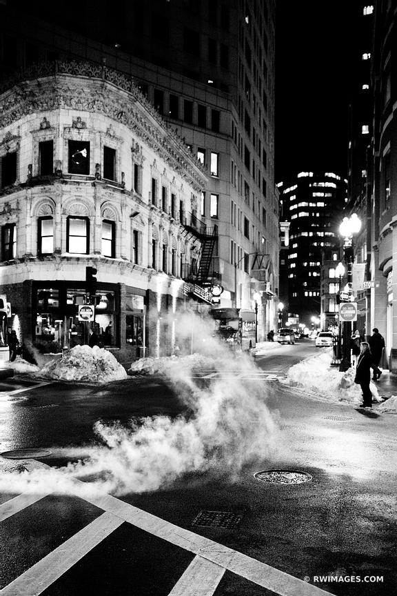 BOSTON DOWNTOWN STREET WINTER NIGHT BLACK AND WHITE