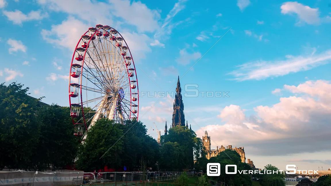 Timelapse View of Princes Street in Edinburgh New Town With the Ferris Wheel and Walter Scott Monument