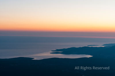 Amazing Aerial View on Zaliv Traste and the Entrance of the Bay of Kotor at the Adreatic Sea After Sunset, Taken from the Mou...