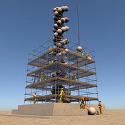 DNA Repair: Monument with Scaffolding and Workers