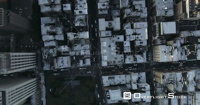 Vertical View of Roads and Traffic on New York City Streets