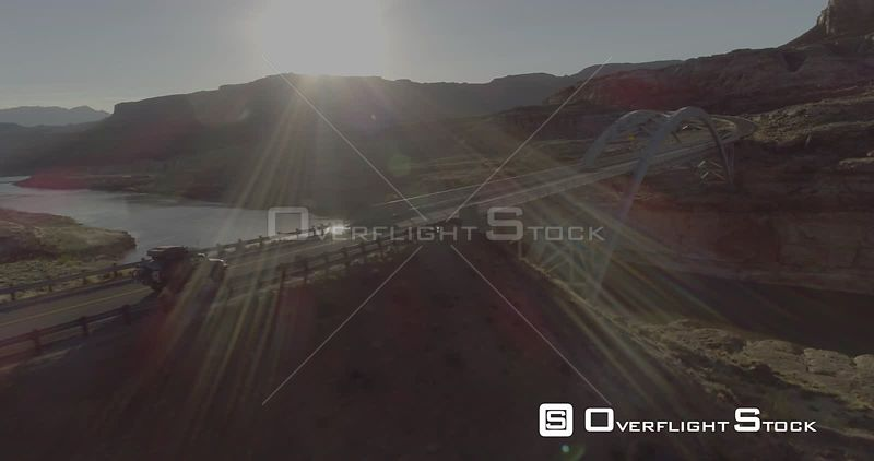 Colorado River Glen Canyon  Lake Powell  Drone Video Utah USA
