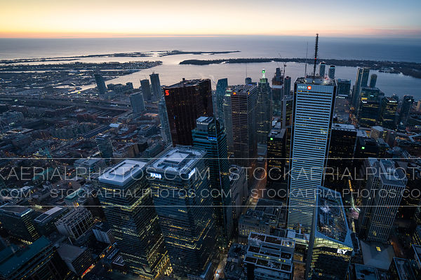 Wide angle view of downtown Toronto during sunrise