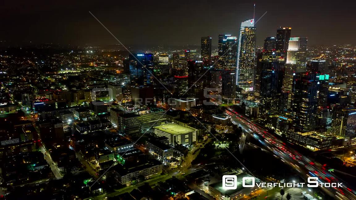 Los Angeles Hyperlapse, moving SW in reverse looking back at downtown tall buildings skyline with traffic