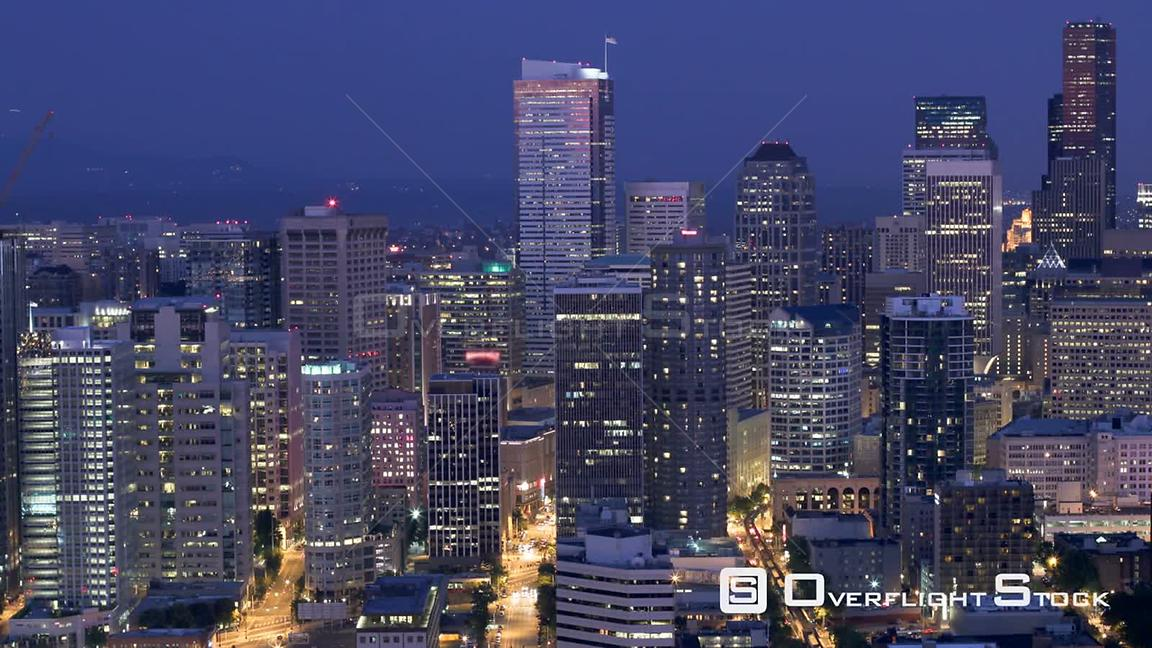 Seattle Washington State USA Time lapse of Seattle city center buildings at dusk.