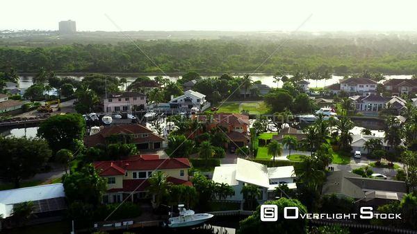 Aerial video drone flying over luxury mansions in South Florida USA