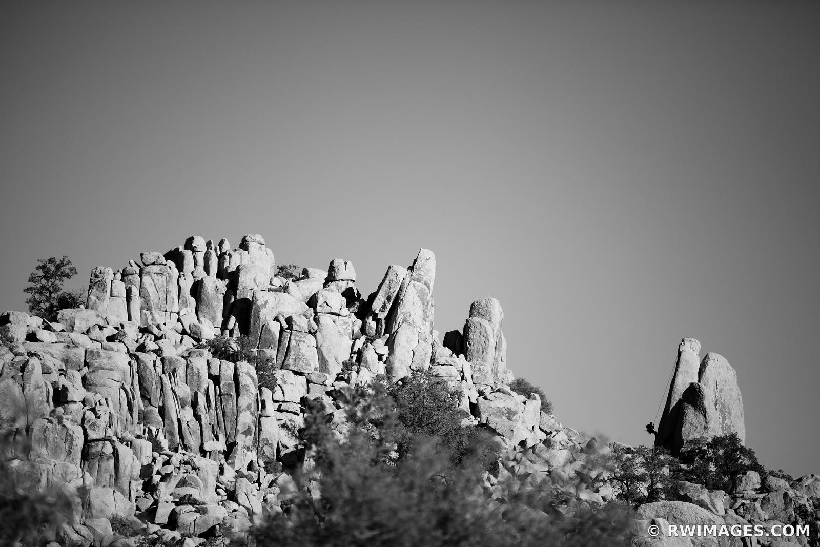 ROCK CLIMBING HIDDEN VALLEY JOSHUA TREE NATIONAL PARK BLACK AND WHITE