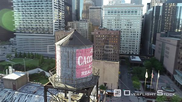 Chicago Stock Old Wood Water Tower City Skyline Drone Video