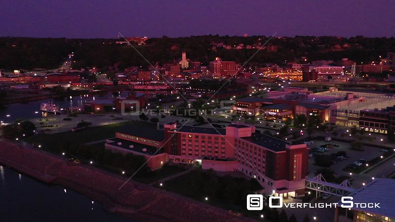 Hotel, Casino and Downtown Lights in Early Morning, Dubuque, Iowa, USA