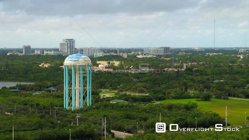 Beautiful aerial footage Hollywood Water Tower Florida 4k