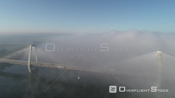 Lewis and Clark Bridge Spanning Indiana and Kentucky on the Ohio River Drone View