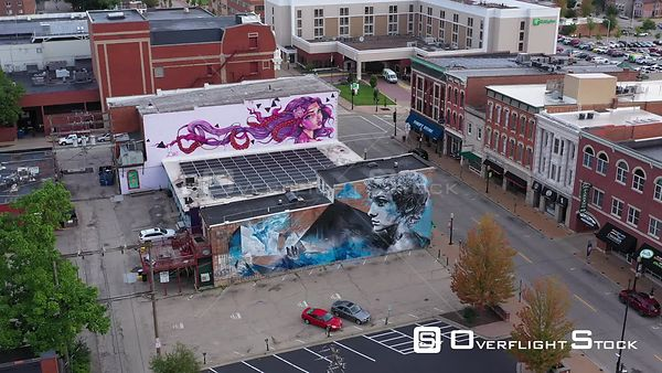 Two Murals on Old Downtown Buildings, Dubuque, Iowa, USA