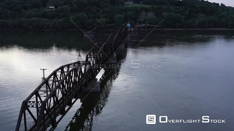 Antique Railroad Swing Bridge over the Mississippi River, Dubuque, Iowa, USA