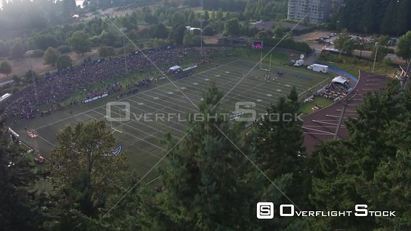 Drone Video of a Football Game at Thunderbird Stadium UBC Vancouver Canada