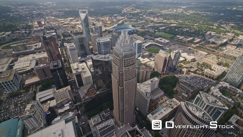 North Carolina Charlotte Aerial Birdseye to vertical over downtown skyscrapers