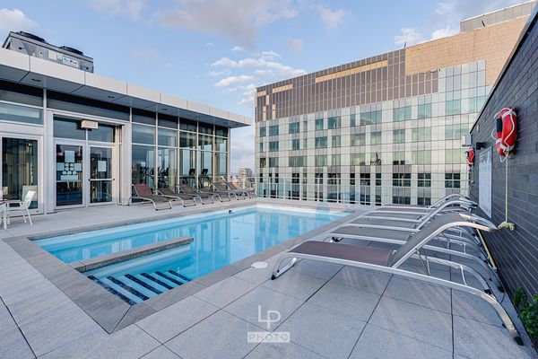 Pool on a terrace of a new condo complex in downtown Montreal