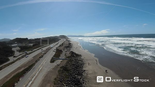 Pacific Coastal Highway and Beach California Drone Aerial View