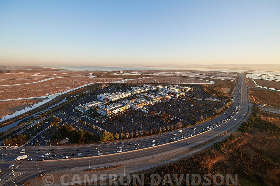 Aerial photograph of the Facebook Campus in Menlo Park, California