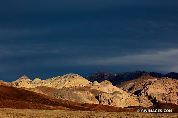 ARTISTS DRIVE SUNSET LIGHT STORMY SKIES DEATH VALLEY CALIFORNIA AMERICAN SOUTHWEST DESERT LANDSCAPE